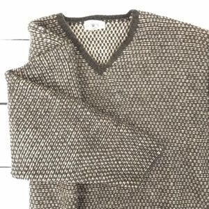 J. Crew 100% wool v-neck heavy brown sweater large